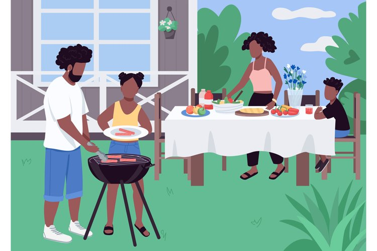 African family barbeque flat color vector illustration example image 1