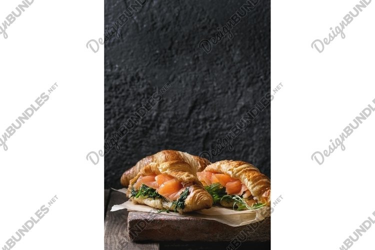 Two croissant with salmon example image 1