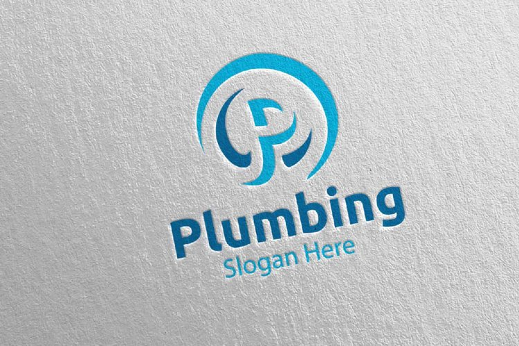 Letter P Plumbing Logo with Water and Fix Home Concept 69 example image 1