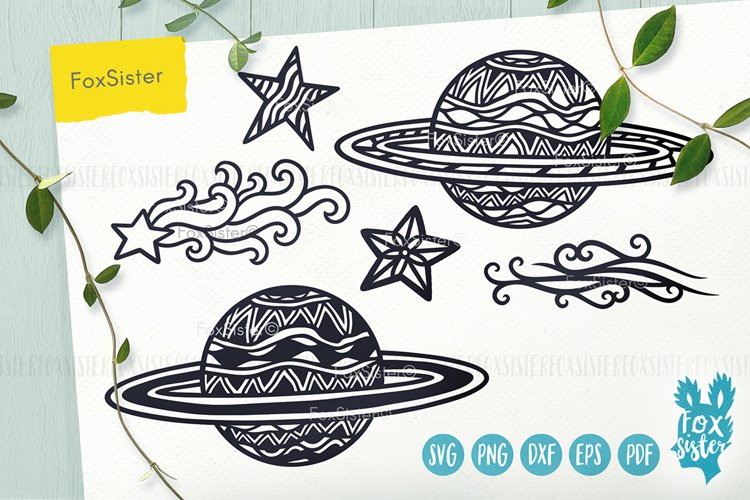 Planets Svg, Universe Svg, Space Svg, Pdf, Dxf, Png, Eps example image 1