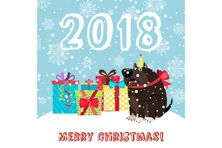 Dog and presents 2018 christmas carda example image 1