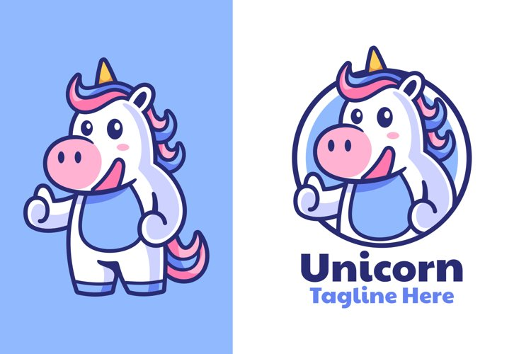 Unicorn Thumbs Up Mascot Logo Design example image 1