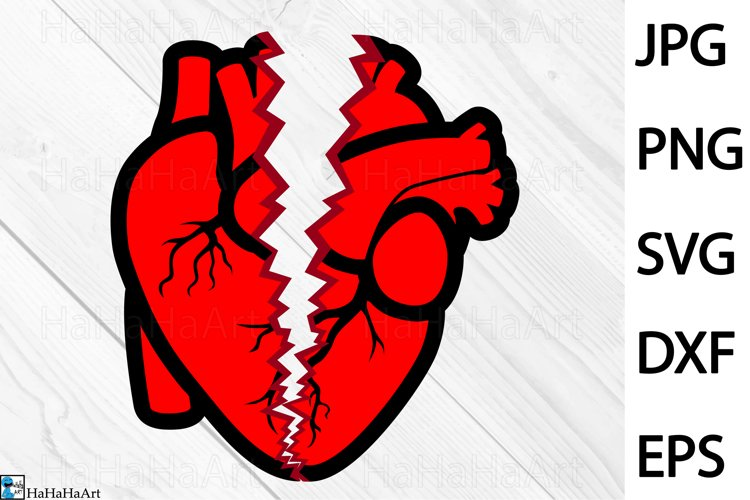 Breaking Heart Design - Clip art / Cutting Files 1343c example image 1