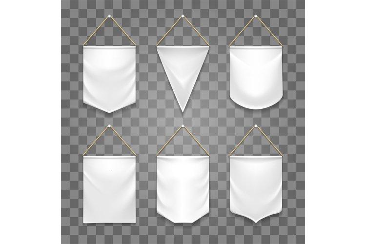 Blank white pennant set
