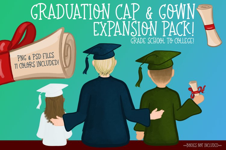 Graduation| Cap and Gown PNG| DIY clipart|Build a Bundle example image 1