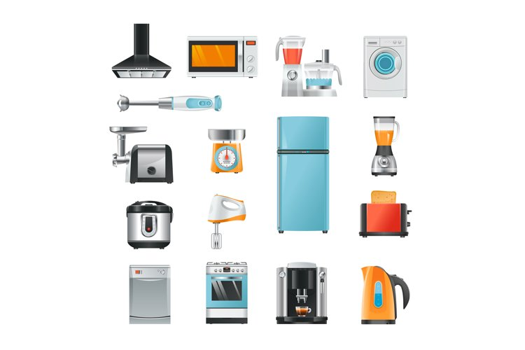 Different household in cartoon style. Electrical equipment f example image 1