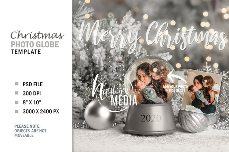 Christmas Winter Snow Globe Digital Photo Gift, PNG & PSD