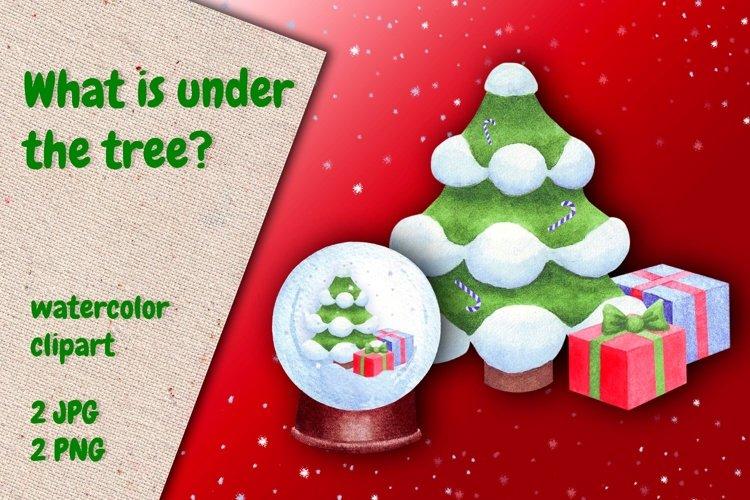 Christmas tree. Christmas gift box. Christmas snow globe example image 1