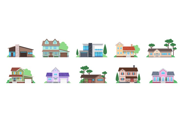Cottage houses. Front view modern suburban home, townhomes a example image 1