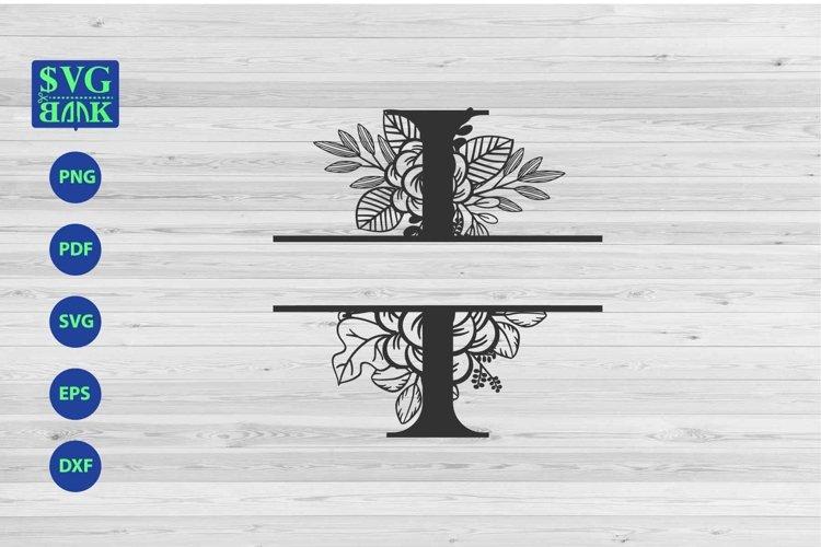 Split monogram letter I Svg, Alphabet floral initial logo I example image 1