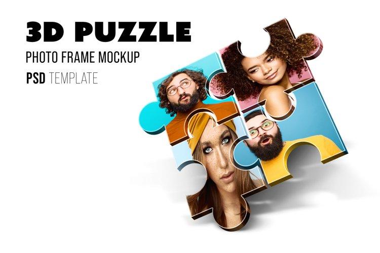 3D Puzzle Photo Frame Mockup