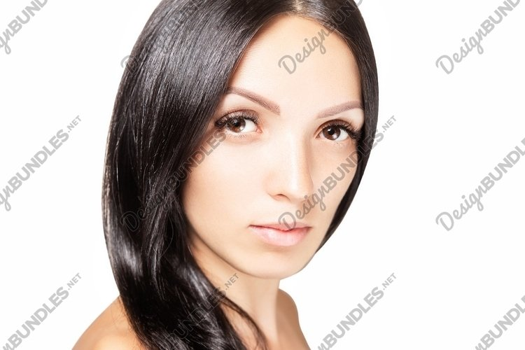 Woman with dark hair and long eyelashes, beauty portrait example image 1