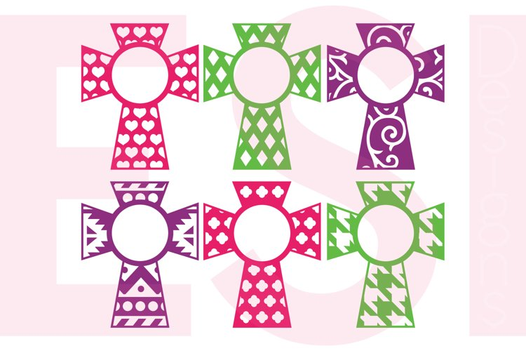 Patterned Cross Designs With Circle for a Monogram - Set 2