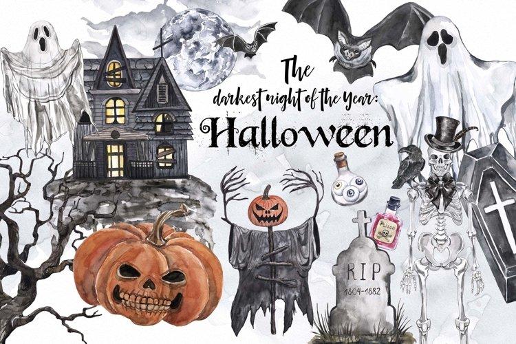 Vintage Halloween clipart Watercolor illustrations set
