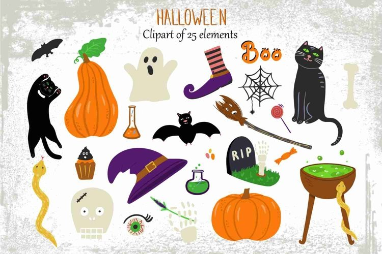 Halloween clip art with cute handdrawn elements. example image 1