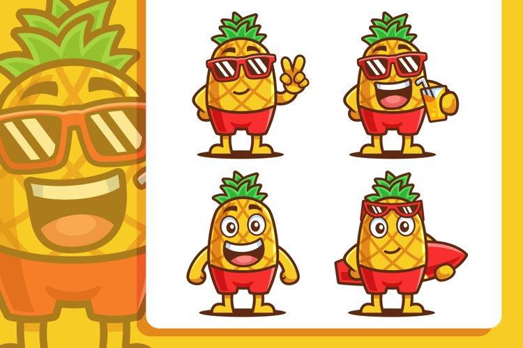 Pineapple Summer Cartoon Character Set