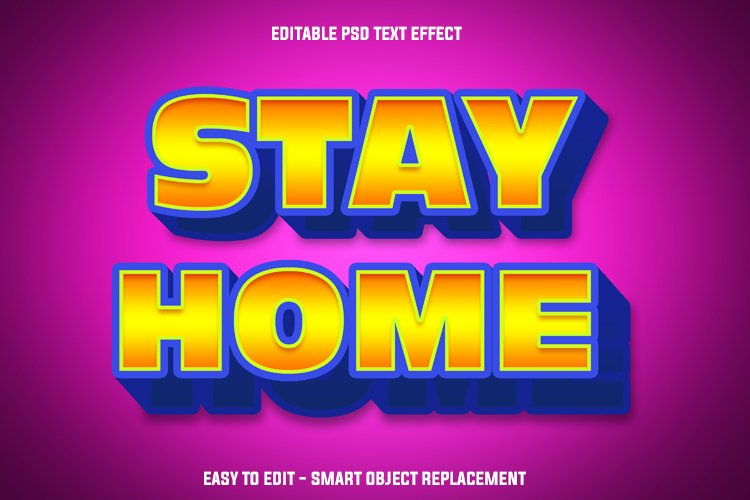 golden stay home text effect example image 1