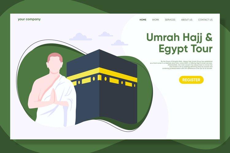 Hajj and Umrah Landing Page Flat Design Vector example image 1