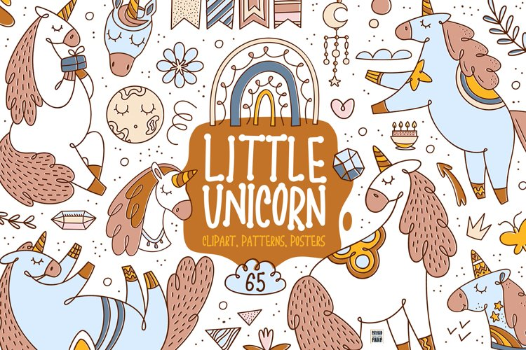 Little Unicorn vector clipart set