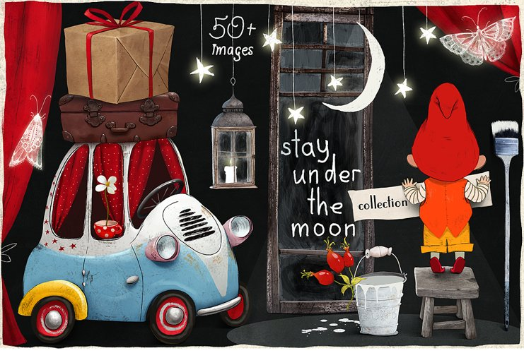Stay under the moon Graphic Set example image 1
