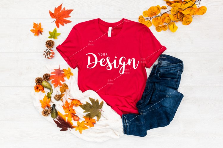 Bella Canvas 3001 Red T-shirt Mockup for Fall example image 1