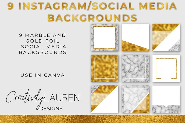 Marble and Gold Foil Instagram Template Pack example image 1