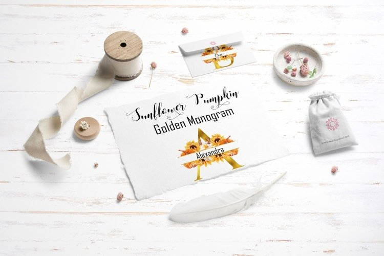 Golden monogram with watercolor sunflower and pumpkins