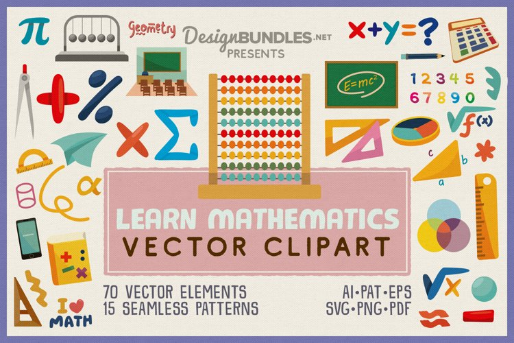 Learn Mathematics Vector Clipart and Seamless Pattern