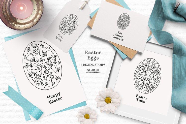 Whimsical Easter egg digital stamps | Cute Easter clipart