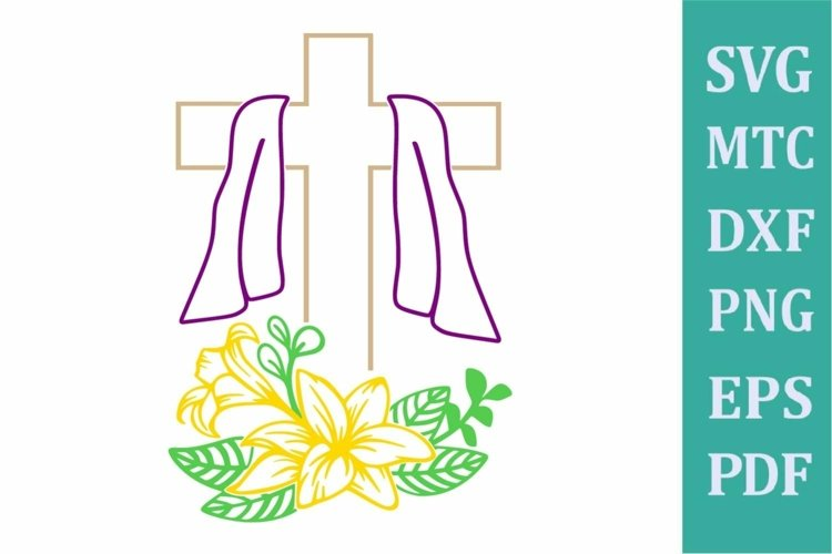 Easter Religion Cross # 01 with Lilly Flower Outline SVG Cut example image 1