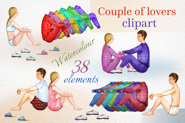 Custom clipart, couple in love, watercolor clipart, PNG example image 1