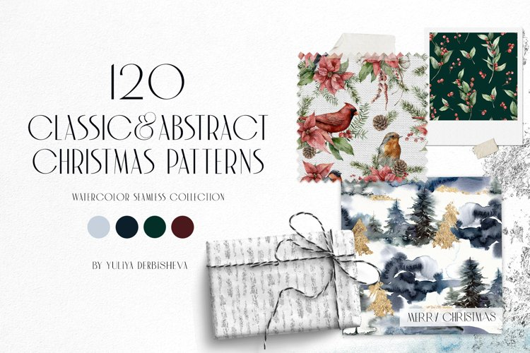 120 Classic and Abstract watercolor Christmas patterns