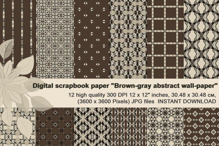 Brown-Gray abstract Digital Scrapbook Paper