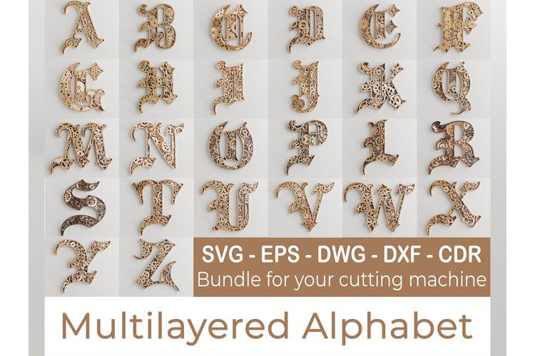 Layered Alphabet -5 layers -SteamPunk Alphabet -laser cut example image 1