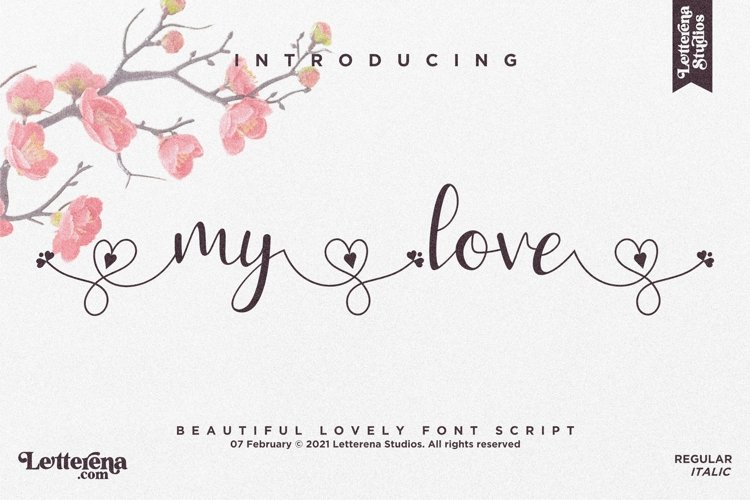my love - Beautiful Lovely Script Font example image 1