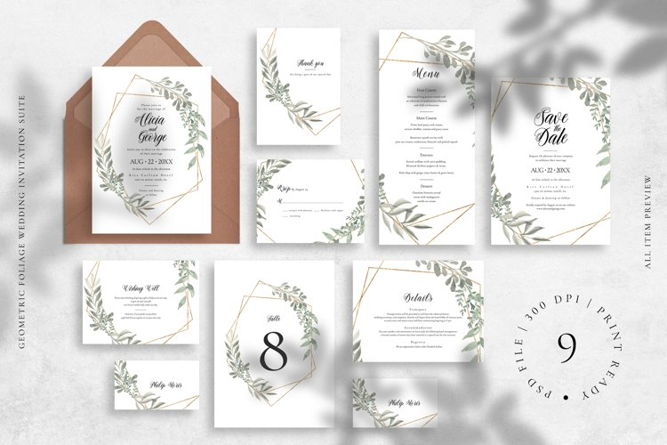 Geometric Foliage Wedding Invitation Suite example image 1