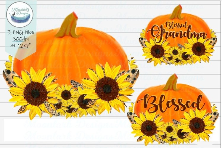 Blessed Grandma, blank pumpkin sunflower and feathers, png example image 1