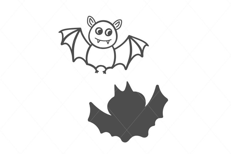 Cute Smiling Bats on the Moon SVG File Clipart example image 1