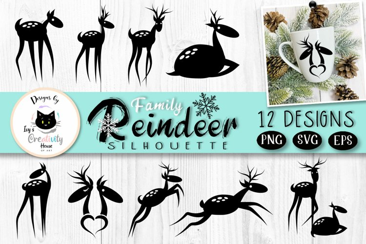 Reindeer Silhouette SVG Bundle  Christmas Clipart
