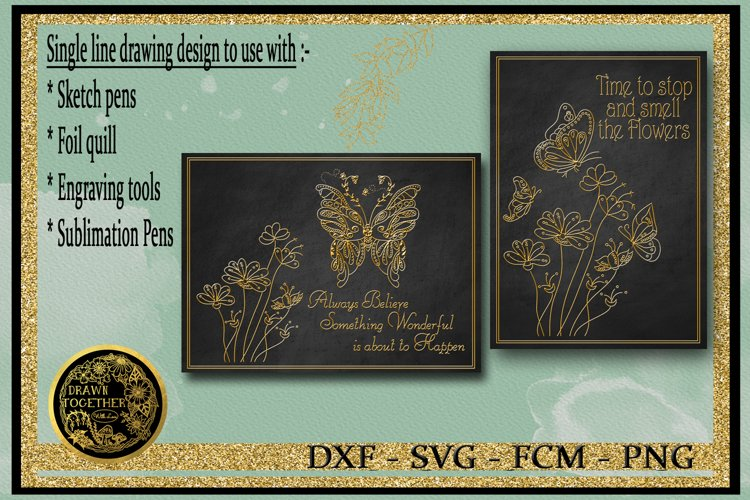 Butterfly Gardens - Single line for Foil Quill, Digi Stamp example image 1