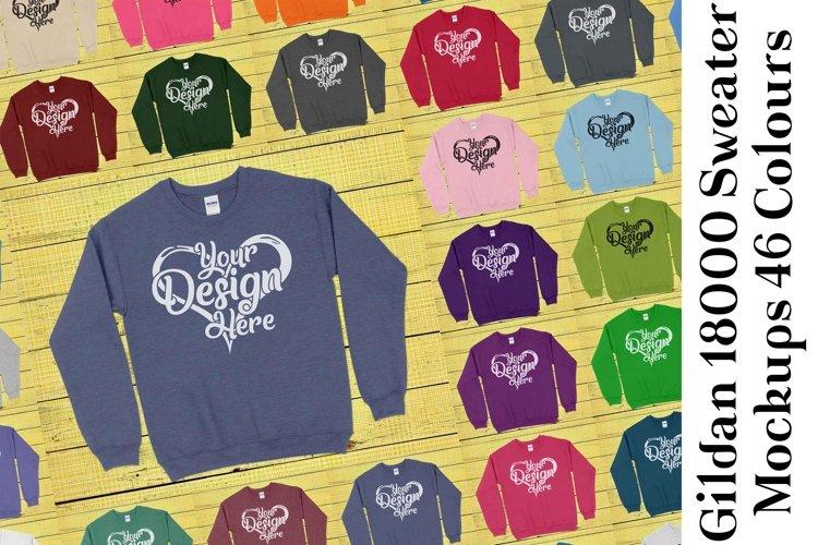 Gildan Sweatshirt Mockup 18000 Mock Up Black White Grey 938 example image 1