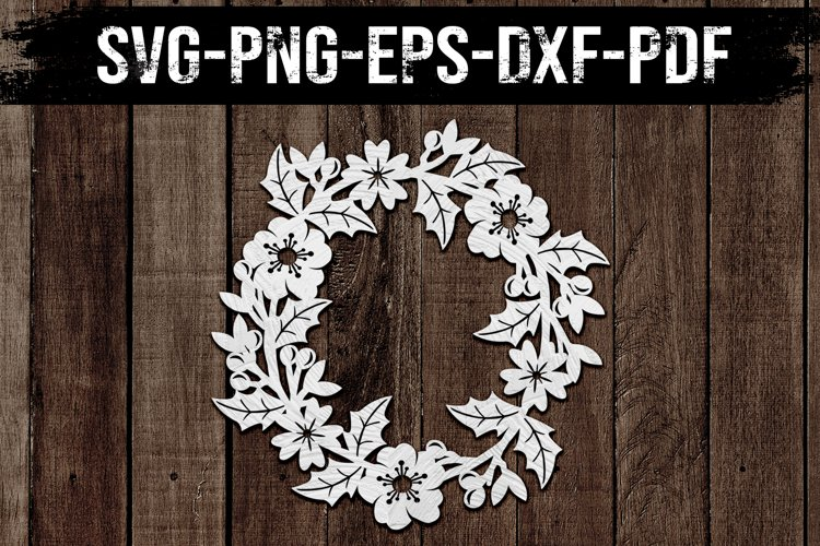 Floral Wreath Paper Cut Template, Spring Decor SVG, PDF, DXF example image 1