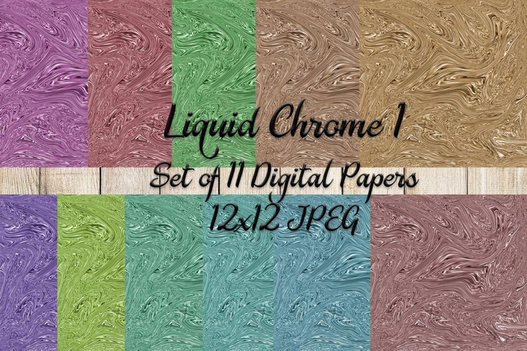 Liquid Chrome 1 Digital Paper Set of 11 example image 1