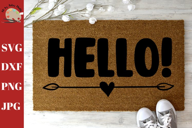 Hello Saying Doormat svg, DIY Welcome mat svg example image 1