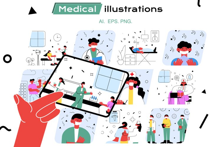 Set of medical vector illustrations example image 1