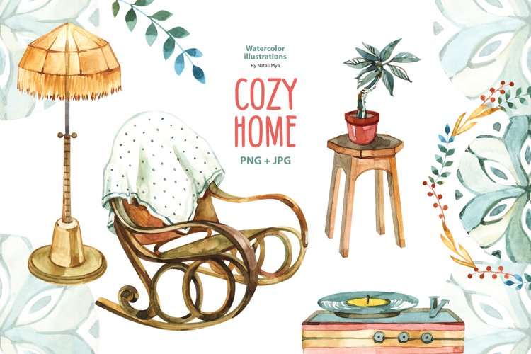 Watercolor cozy home clipart example image 1
