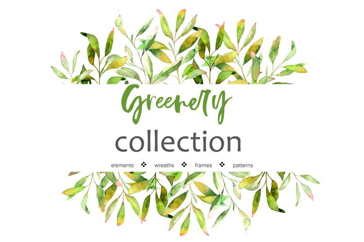 Greenery Collection. Watercolor set example image 1