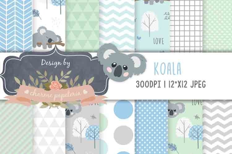 Koala Digital Paper Baby Boy Background blue and green example image 1