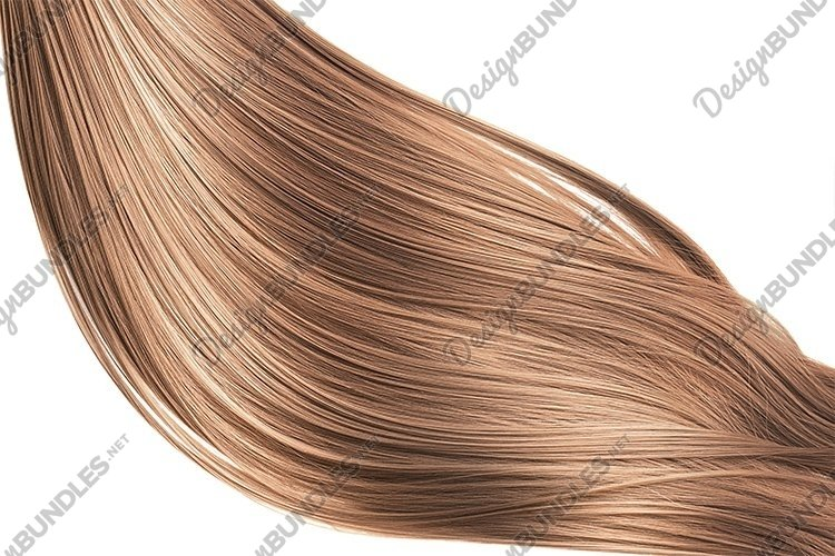 Brown shiny hair on white background, isolated