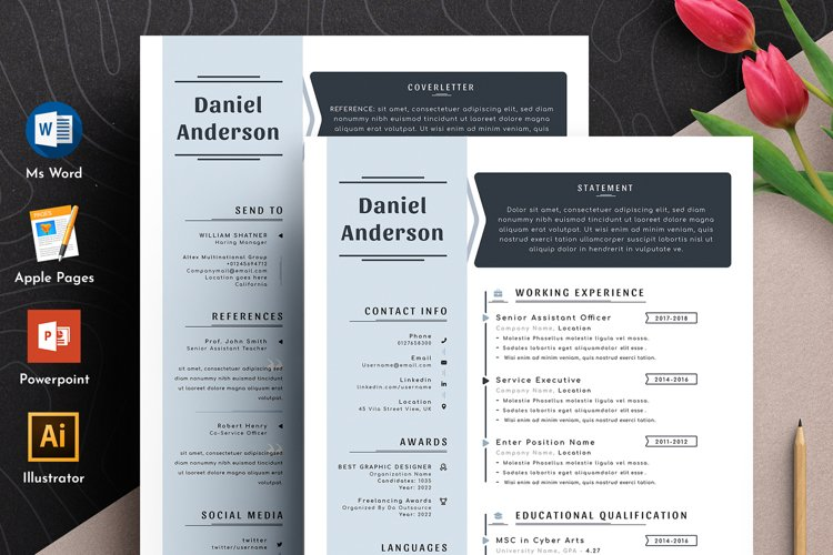 Professional Editable Resume Cv Template in Word Apple Pages example image 1